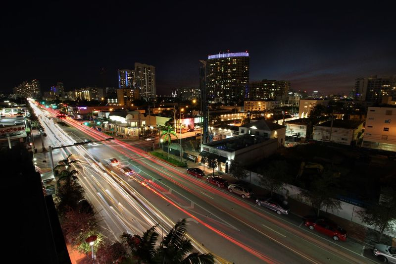 Alton Road, Miami Beach, Florida, Seen from Lincoln Center Parking lot. Miami Miamibeach Illuminated City Building Exterior Architecture Night Built Structure Road Transportation Street High Angle View Cityscape Sky Building Light Trail Long Exposure City Life Motion Capture Tomorrow