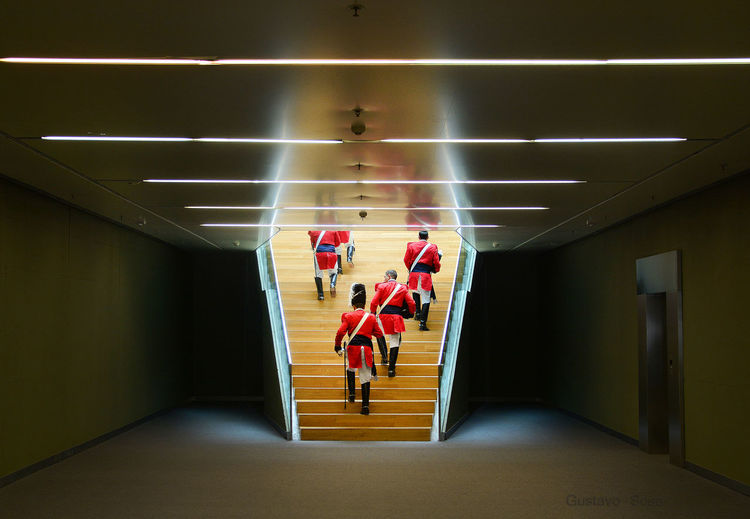 Rear view of grenadiers on staircase in government building