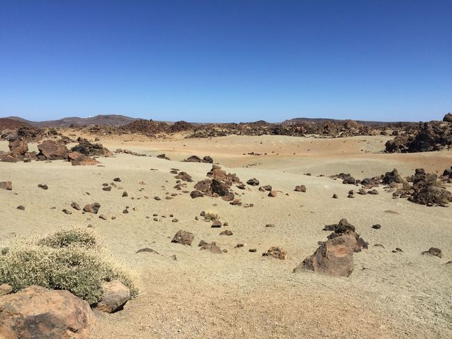 Sand Beige Nature Rock Blue Sky Beautiful Tenerife Canary Islands Summer Warm Sky Landscape Land Clear Sky Nature Desert Tranquility Copy Space Tranquil Scene Environment Scenics - Nature Sand No People Day Non-urban Scene Arid Climate Climate Beauty In Nature Blue Remote