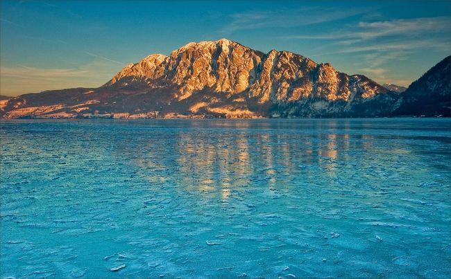Ice Mountains Sundown Attersee