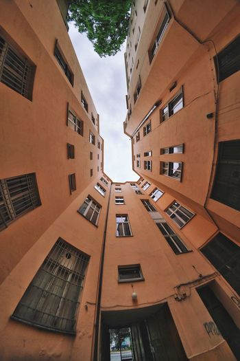 Fisheye Backyard Walls Residential Building Architecture Orange Color Low Angle View Lookingup Architecture_collection EyeEm Selects