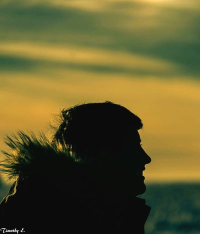 Daughter silhouette Silhouette Headshot Sunset Human Hair Close-up One Person Outdoors Only Women Nikon D7000 Canada Coast To Coast NikonLife Ontario Canada Goderich Ontario Lake Huron, Canada