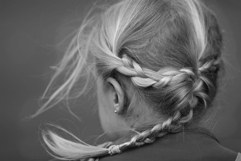 Backwards  Behind Black And White Blackandwhite Blond Childhood Girl Hair Hair Style People Wind