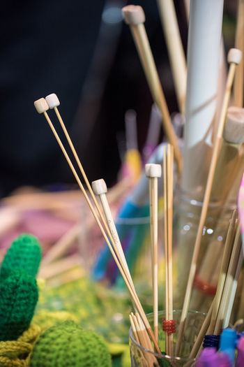 Art And Craft Close-up Focus On Foreground Creativity Brush Paintbrush Craft Selective Focus Knitting Needle No People Skill  Indoors  Multi Colored Choice Large Group Of Objects Art And Craft Equipment Incense Variation Textile Group Of Objects