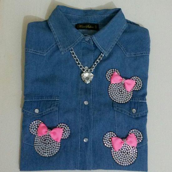 Minnie Minnie Mouse Jean Gömlek Crystal
