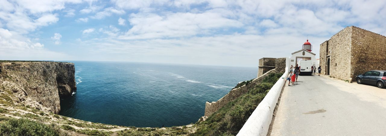 Panoramic Portugal Fortaleza De São Vicente Algarve Cape St Vincent Sagres EyeEm Selects Water Sky Sea Cloud - Sky Day Nature Real People Beauty In Nature Lifestyles Outdoors Architecture Scenics - Nature Horizon Men Tranquil Scene Horizon Over Water