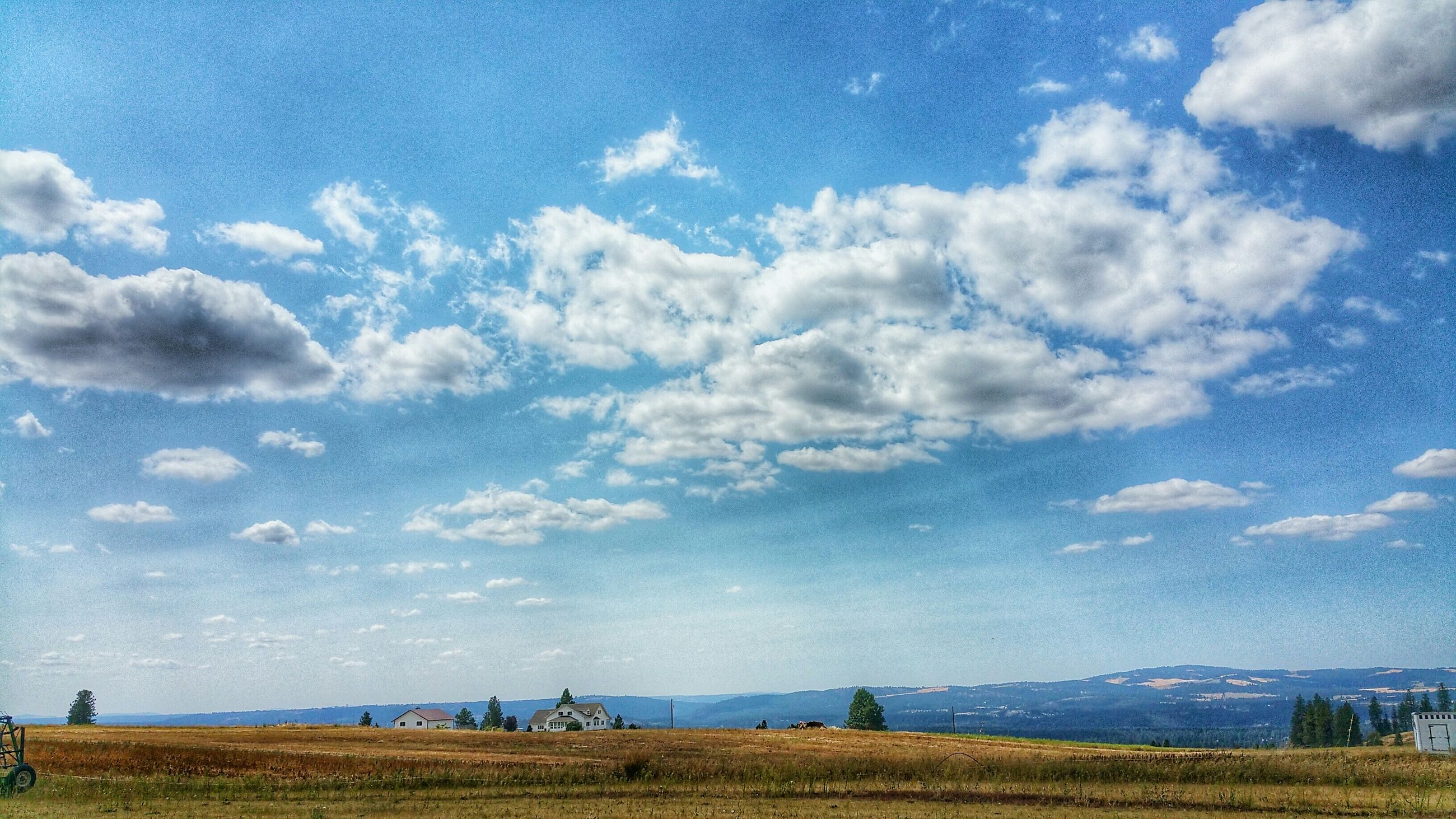 sky, landscape, tranquil scene, tranquility, blue, scenics, cloud - sky, field, beauty in nature, cloud, nature, grass, horizon over land, rural scene, idyllic, cloudy, day, agriculture, remote, non-urban scene