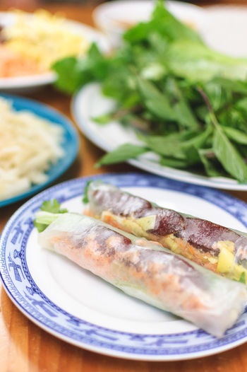 Asian Food Close-up Day Focus On Foreground Food Food And Drink Freshness Healthy Eating Indoors  No People Plate Ready-to-eat Rice Paper Rolls Serving Size Table Vietnamese Food