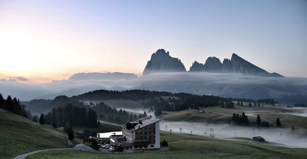 EyeEm Selects Mountain Tranquility Scenics Beauty In Nature Nature Transportation Sky Mountain Range No People Outdoors Sunset Clear Sky Day Architecture Building Exterior EyeEm Nature Lover EyeEm Best Shots Nature Canon Canonphotography Dolomites, Italy The Week On EyeEm Lost In The Landscape