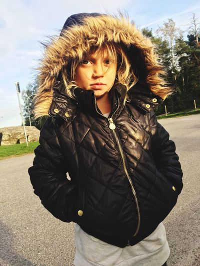 little girl with attitude Swedishautumn Autumn Littlegirl Attitude Front View One Person Real People Lifestyles Leisure Activity Clothing Young Adult Standing Warm Clothing Jacket Day Portrait Casual Clothing Sunlight Nature Outdoors