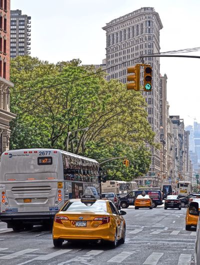 City Mode Of Transport Transportation Architecture Tree Street Car City Street Building Exterior City Life Outdoors Yellow Taxi Public Transportation Flatiron Building Flatironbuilding NYC Photography NYC Street Photography NYC NYC Street City Life