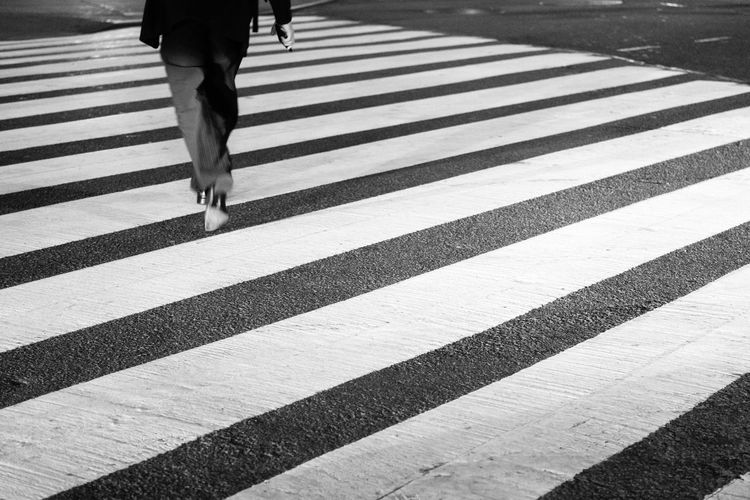 ...to get to the other Side. Black And White Photography Night Photography NYC Street Photography White Lines Patterns Motion Blur Monochrome Crossing The Street Sony A6000 Project365
