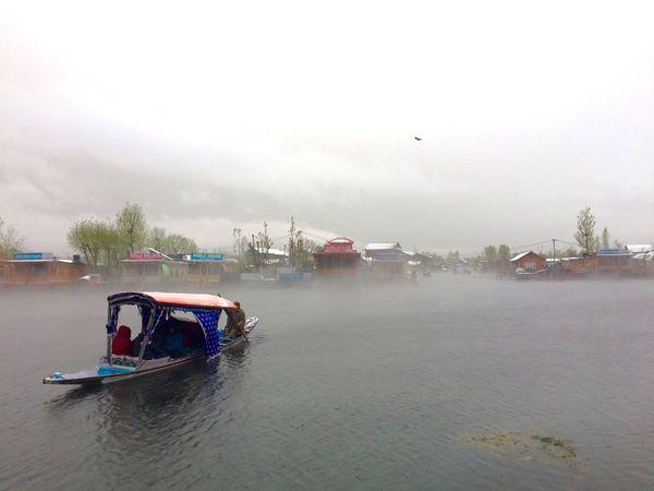 Dal Lake Srinagar  SriNagar..❄ Kashmir India Snowing House Boat Rowing Boat IPhoneography