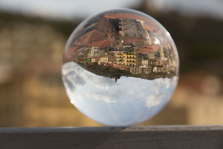 Architecture Holiday POV Architecture Building Exterior Close-up Clouds And Sky Crystal Crystal Ball Day Focus On Foreground Glass - Material No People Outdoors Reflection Sky Sphere Spherical Photo