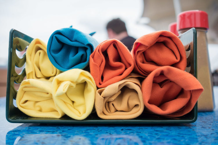 Close-up of colorful towels on table