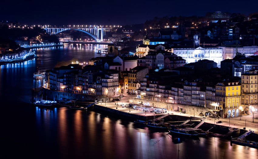 Architecture Illuminated Reflection Building Exterior Night Built Structure City Water Nautical Vessel Transportation Mode Of Transportation No People River Moored Waterfront Building Travel Destinations Nature Cityscape Bridge - Man Made Structure Outdoors Nightlife