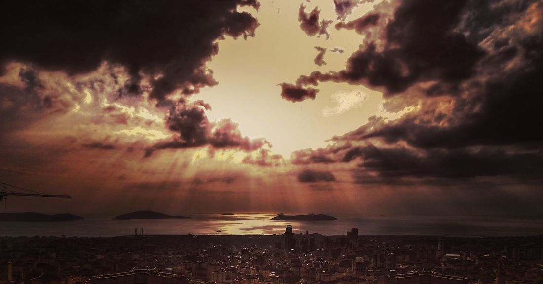 Prince Islands Istanbul Sky Sunset Cloud - Sky Sea Scenics Dramatic Sky Horizon Over Water Nature Tranquil Scene Tranquility Water No People Outdoors Silhouette Dusk Beach Awe Travel Destinations Storm Cloud