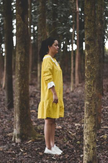 Full length of girl standing on tree trunk in forest
