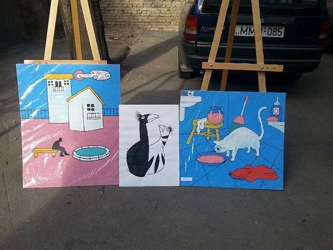 Gela Jincharadze Art Artist Paintings Exhibition Outdroors Ezo Pink Blue