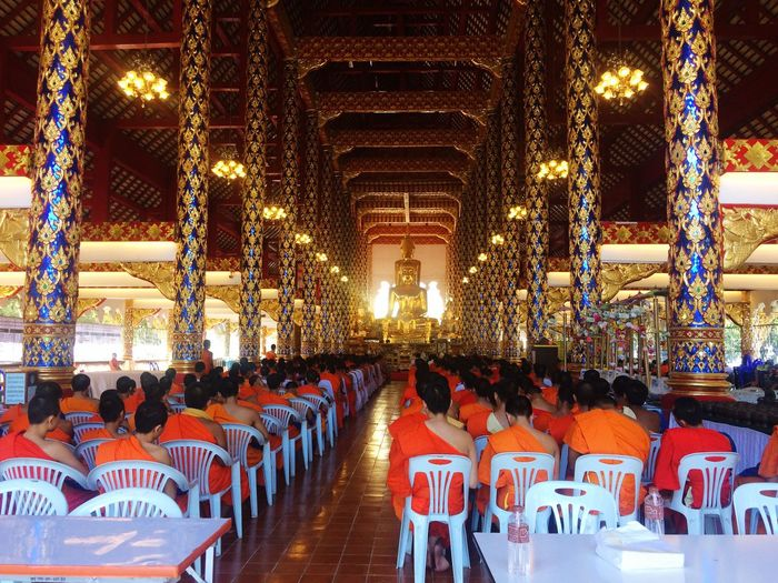 Pray For King In A Row Religion Spirituality Place Of Worship Indoors  Architecture Seat Praying Day Buddhism Buddhist Buddhist Temple Buddha