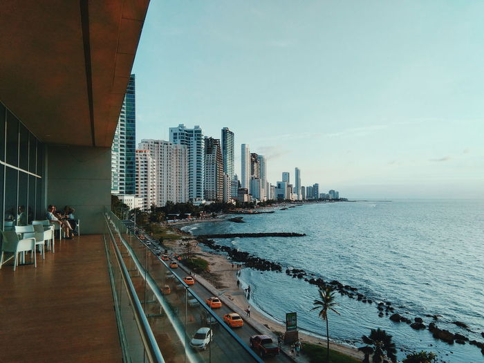 Panoramic view of city at waterfront