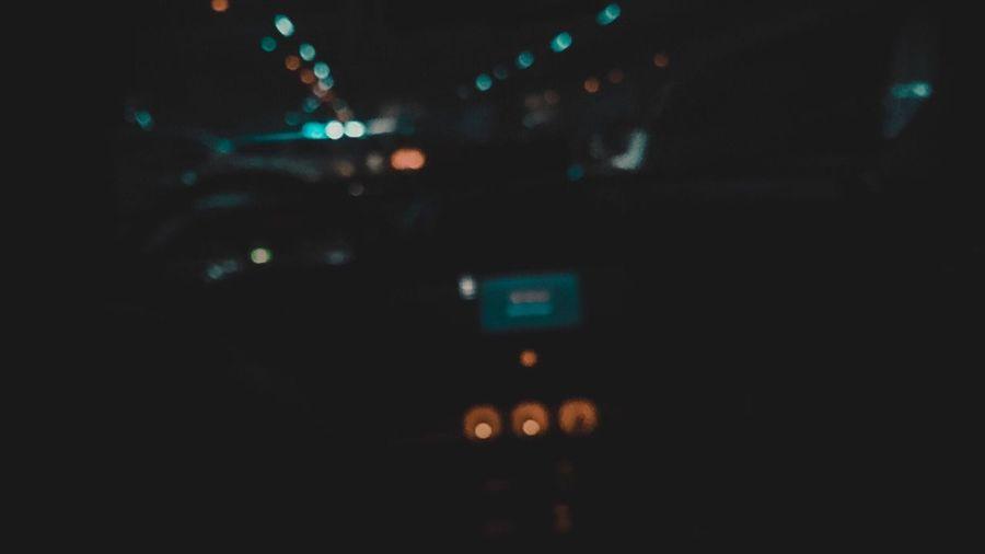 Close-up of illuminated car at night