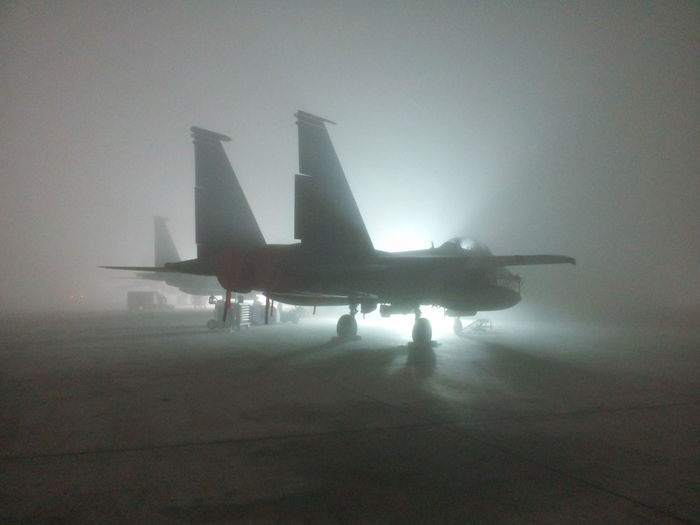 Aircraft F15E Fighter Jet Flightline Fog Food Military Life Strike Eagle