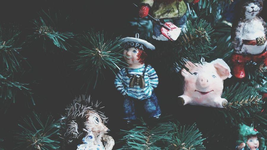 Full length of toys in christmas tree