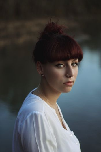 On the riverside Portrait Hairstyle One Person Young Adult Beauty Beautiful Woman Adult Women Looking At Camera Young Women Focus On Foreground Bangs Casual Clothing Individuality Hair Contemplation Hair Bun First Eyeem Photo