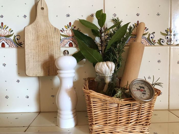 Herbs Kitchen kitchen utensils Indoors  Basket Wicker Plant Container Nature Home Interior