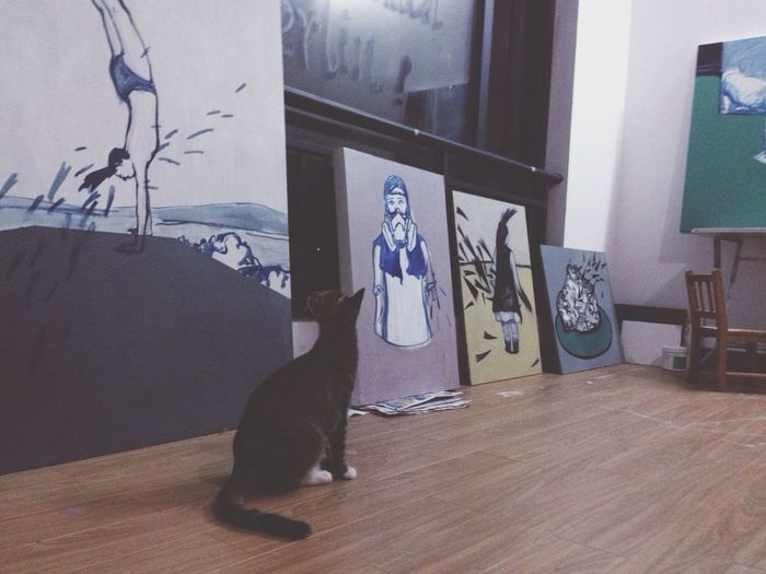 Hello World Enjoying Life Cat Art