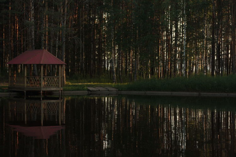 Scenic view of lake with gazebo and trees reflection