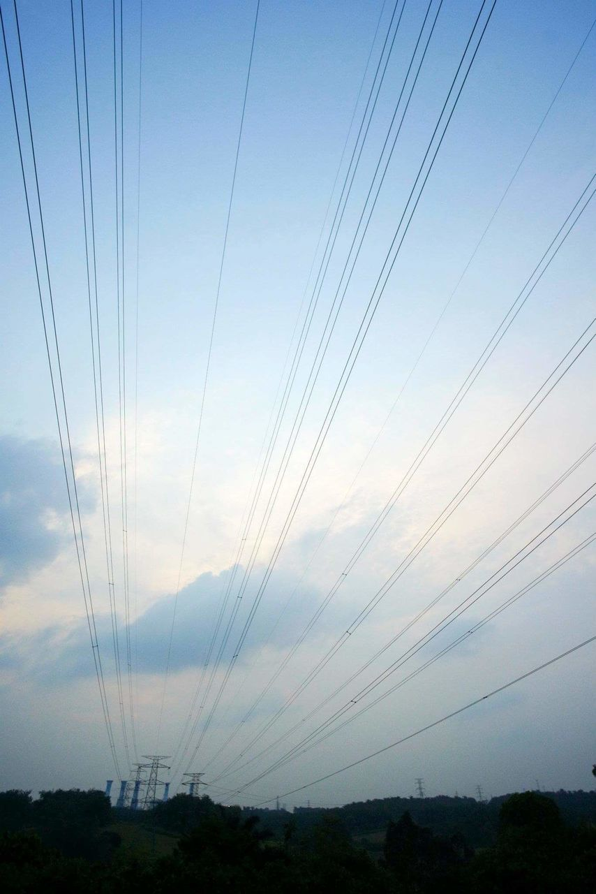 cable, power line, connection, electricity, electricity pylon, sky, nature, power supply, no people, outdoors, landscape, day, beauty in nature, technology, telephone line