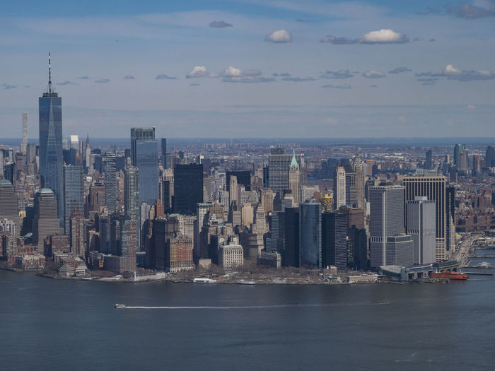 Chopperview Helicopter New York Skyline Architecture Building Building Exterior Built Structure City Cityscape Cloud - Sky Financial District  Horizon Over Water Landscape Modern Nature Nautical Vessel No People Office Building Exterior Sea Sky Skyscraper Transportation Urban Skyline Water Waterfront