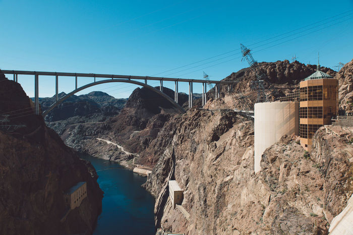 Architecture Architecture Arizona Bridge Bridge - Man Made Structure Built Structure Clear Sky Colorado River Connection Construction Dam Day Electricity  Electricity Pylon Engineering Hoover Dam Hydroelectric Power Lake Mountain Nature Nevada No People Outdoors Reservoir Sky