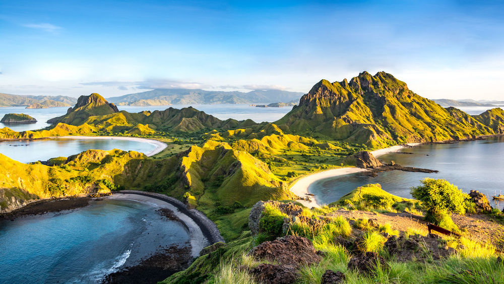 Morning Light on Padar Island, Komodo National Park, Flores Island, Indonesia INDONESIA Bay Beach Blue Hike Island Komodo Land Light And Shadow Morning's Photo Mountain Nature Ocean Outdoors Padar Padar Island Sand Sea Sky Tranquility Tropical Water