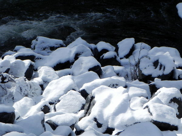 Beauty In Nature Cold Temperature Day Nature No People Outdoors River Sky Snow Covered River Rocks Tranquility Water Winter