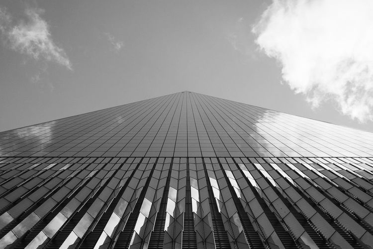 New York City black and white series (MARCH 14) (9/18) City Life City Street Composition New York New York City Architecture Black Black And White Building Building Exterior Built Structure Bw City Cloud - Sky Day Directly Below Low Angle View Modern Office One World Trade Center Photography Sky Skyscraper Urban World Trade Center
