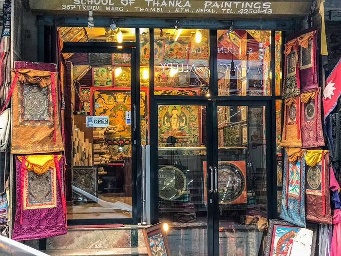 School of Thanka paintings, Thamel Kathmand Art And Craft For Sale Illuminated Large Group Of Objects Multi Colored No People Retail Display Store