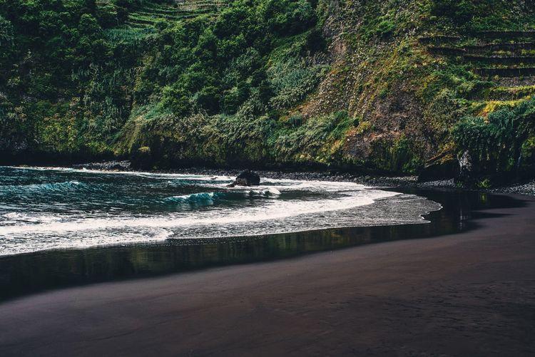 Beach Beachphotography Madeira Madeira Island Black Sand Black Sand Beach Sea Ocean Nature Landscape Green Color