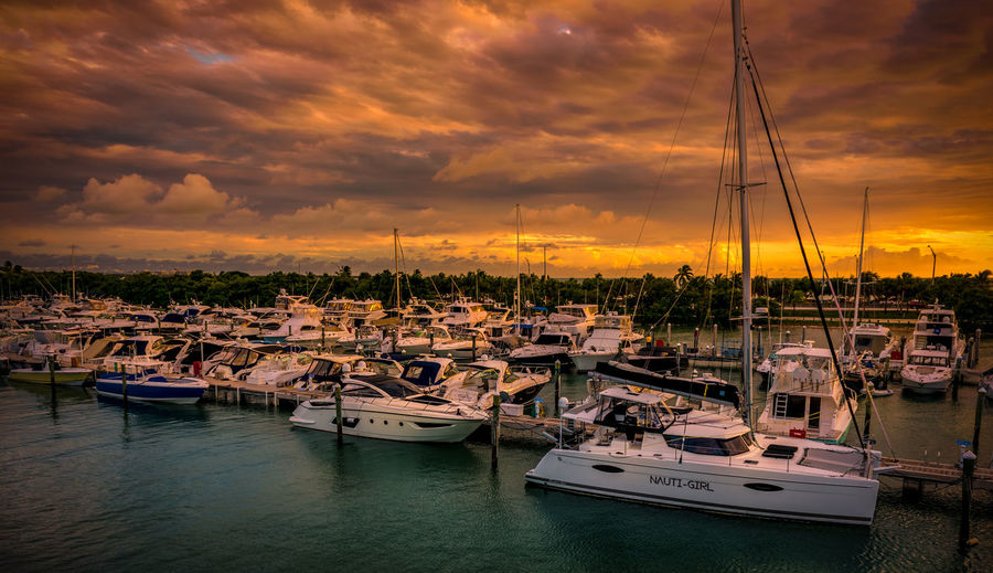 Moored in Paradise Biscayne Bay Boat Dramatic Sky Marina Miami Nautical Vessel Outdoors Sky Sunset Tourism Transportation Travel Travel Destinations Vacations Water