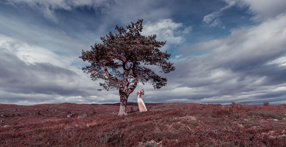 Cloud - Sky Tree Nature Sky Landscape Outdoors Tranquility People Growth Beauty In Nature Fineart Dress Natural Beauty Canon Photography Beauty Young Women Fresh on Market 2017 Selfportrait Norway Lost In The Landscape Blonde Sensual_woman An Eye For Travel