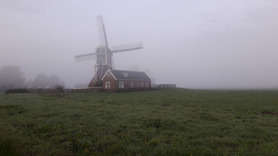 Windmill Traditional Windmill Fog Wind Power Mill Sky Outdoors Nature Dutch Dreamscapes Dutch Countryside Dutch Nature Dutch Skies Dutch Dutch Landscape Beauty In Nature