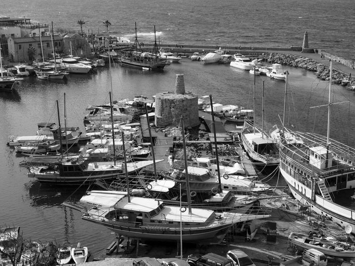 Bnw_harbor Bnw_friday_eyeemchallenge Nautical Vessel Transportation Harbor Sea High Angle View Architecture Yacht Marina Port