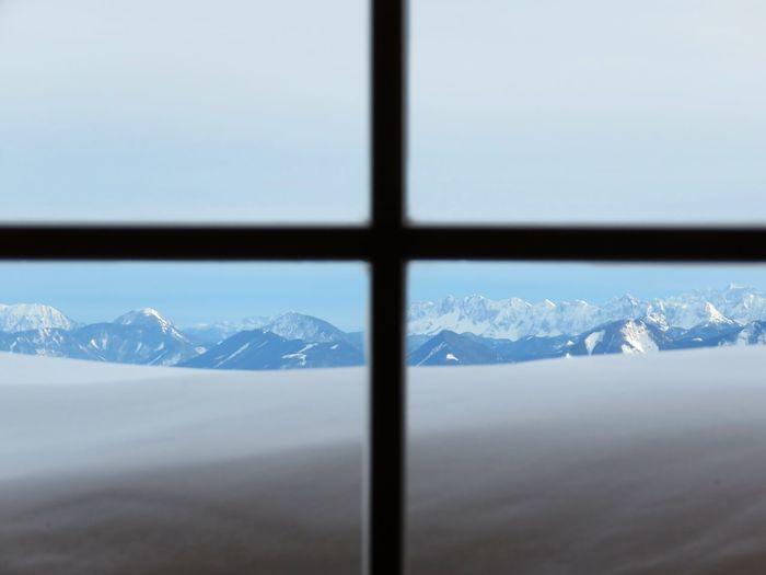 Cold Temperature Cold Winter Mountain Range Mountain View Window Window View Mountains And Sky Miuntains Snowing Snow Alps Austria Österreich Window Frame Cross Shades Of Winter