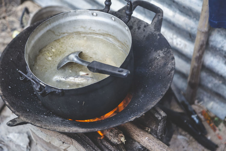 High angle view of meat in cooking pot