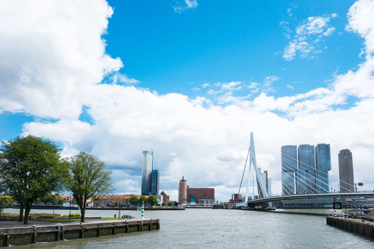 Erasmus bridge over river by buildings against cloudy sky in city
