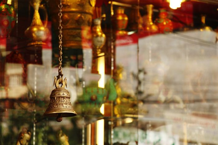 Hanging No People Gold Colored Illuminated Close-up Gold Indoors  Architecture Day Bell Reflections Eyeemnepal Thamel Street Focus On Foreground