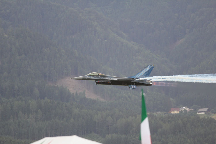 Air Vehicle Airplane Airshow Day F16fightingfalcon Flying Military Mountain No People Transportation