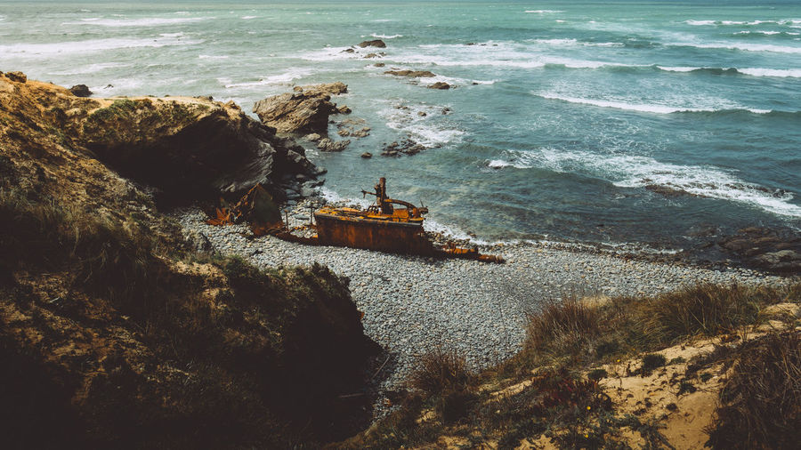 Smuggler's Shipwreck Coastline Beauty In Nature Land No People Outdoors Rock Scenics - Nature Sea Ship Shipwreck Water Waves The Great Outdoors - 2018 EyeEm Awards